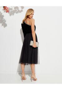 NEEDLE & THREAD - Czarna spódnica Kisses Tulle. Okazja: na randkę. Kolor: czarny. Materiał: tiul. Wzór: aplikacja. Styl: retro