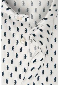 Biała koszula JOOP! długa, z włoskim kołnierzykiem, na co dzień, casualowa