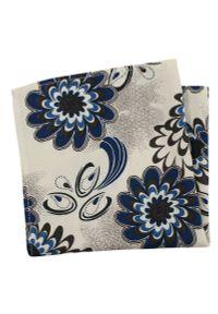Niebieska poszetka EM Men's Accessories w kwiaty