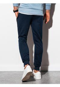 Ombre Clothing - Spodnie męskie dresowe joggery P903 - granatowe - XXL. Kolor: niebieski. Materiał: dresówka #5