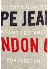 Pepe Jeans - Bluza bawełniana Neville. Okazja: na co dzień. Kolor: szary. Materiał: bawełna. Wzór: aplikacja. Styl: casual