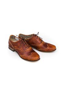 Brązowe półbuty Zapato w kolorowe wzory, z cholewką, wąskie