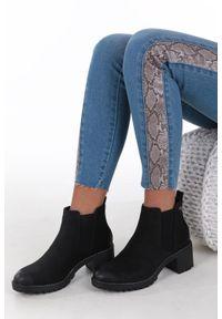 Sergio Leone - czarne botki na słupku z gumką sergio leone bt706. Kolor: czarny. Obcas: na słupku