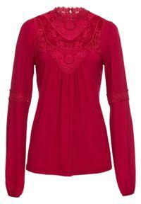 Shirt z koronką i długim rękawem bonprix ciemnoczerwony. Typ kołnierza: kołnierzyk stójkowy. Kolor: czerwony. Materiał: koronka. Długość rękawa: długi rękaw. Długość: długie. Wzór: koronka
