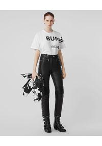 Burberry - BURBERRY - Biały T-shirt oversize. Okazja: na co dzień. Kolor: biały. Materiał: materiał, jeans. Wzór: nadruk. Styl: casual, klasyczny