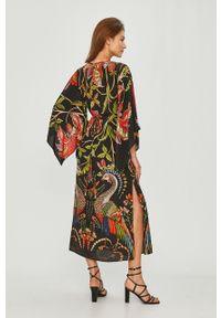 Czarna sukienka Desigual z długim rękawem, na co dzień, casualowa, rozkloszowana