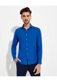 FAY - Błękitna koszula z lnu. Kolor: niebieski. Materiał: len. Długość rękawa: długi rękaw. Długość: długie. Styl: klasyczny