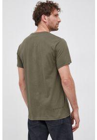 G-Star RAW - G-Star Raw - T-shirt bawełniany. Okazja: na co dzień. Kolor: zielony. Materiał: bawełna. Wzór: nadruk. Styl: casual