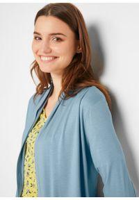 Shirt z wiązanymi przodami, z przyjaznej dla środowiska wiskozy bonprix kremowy niebieski. Kolor: szary. Materiał: wiskoza