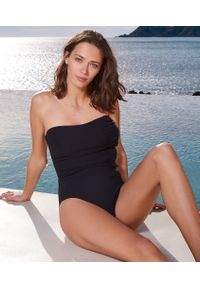 Czarny strój kąpielowy jednoczęściowy Etam z aplikacjami
