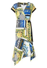 Sukienka kopertowa bonprix czarno-niebiesko-żółty z nadrukiem. Kolor: czarny. Wzór: nadruk. Sezon: lato. Typ sukienki: kopertowe
