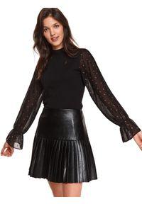TOP SECRET - Bluzka z prześwitującymi rękawami. Kolor: czarny. Materiał: tkanina, tiul, materiał. Długość: długie. Wzór: aplikacja. Sezon: wiosna