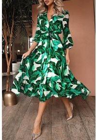 IVET - Sukienka TERDINA. Kolor: biały, wielokolorowy, zielony. Wzór: kwiaty. Sezon: wiosna. Styl: elegancki