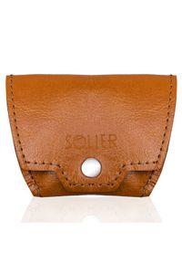 Skórzana bilonówka, portfel na monety camel Solier SA10. Materiał: skóra