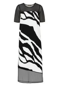 Sukienka midi z nadrukiem bonprix czarno-biały w paski zebry. Kolor: czarny. Wzór: nadruk, motyw zwierzęcy, paski. Długość: midi