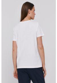 TOMMY HILFIGER - Tommy Hilfiger - T-shirt bawełniany. Okazja: na co dzień. Kolor: biały. Materiał: bawełna. Wzór: aplikacja. Styl: casual