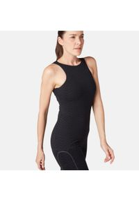 NYAMBA - Top z wszytym stanikiem Gym & Pilates 900 damski. Kolor: czarny. Materiał: lyocell, bawełna, materiał, elastan, skóra. Sport: joga i pilates