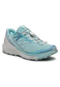 Niebieskie buty do biegania salomon na płaskiej podeszwie, z cholewką