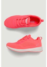 Różowe buty sportowe skechers z cholewką, na sznurówki