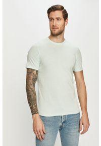 Turkusowy t-shirt Jack & Jones na co dzień, gładki