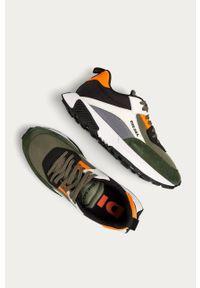 Oliwkowe sneakersy Diesel z cholewką, na sznurówki, z okrągłym noskiem