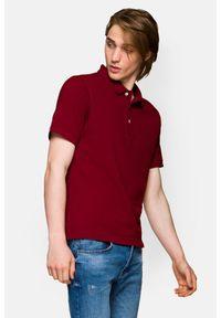 Czerwona koszulka polo Lancerto polo, ze splotem, klasyczna