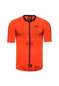 Pomarańczowa koszulka termoaktywna X-Bionic z asymetrycznym kołnierzem, z krótkim rękawem, rowerowa