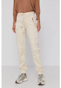 Mos Mosh - Spodnie. Kolor: beżowy