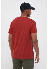 Lee - T-shirt bawełniany. Kolor: pomarańczowy. Materiał: bawełna. Wzór: aplikacja