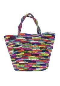 SENSI STUDIO - Słomiana torba tote. Kolor: zielony. Sezon: lato. Styl: wizytowy. Rodzaj torebki: do ręki