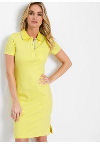 Sukienka shirtowa polo bonprix jasny oliwkowy - srebrnoszary. Typ kołnierza: polo. Kolor: żółty. Styl: elegancki #5