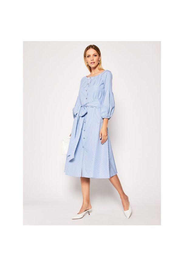 Niebieska sukienka Luisa Spagnoli koszulowa, z koszulowym kołnierzykiem