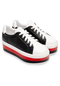 Buty sportowe damskie Ideal Shoes U-6273 Białe. Kolor: biały. Materiał: tworzywo sztuczne. Obcas: na obcasie. Wysokość obcasa: średni