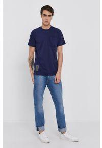 G-Star RAW - G-Star Raw - T-shirt. Okazja: na co dzień. Kolor: niebieski. Materiał: bawełna, dzianina. Wzór: gładki. Styl: casual