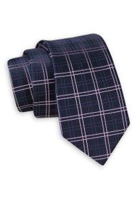 Ciemny Granatowy Elegancki Krawat -Angelo di Monti- 6 cm, Męski, w Grubą Kratkę. Kolor: niebieski. Wzór: kratka. Styl: elegancki