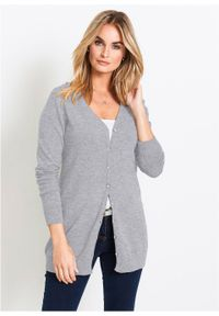 Szary sweter bonprix melanż, elegancki, długi