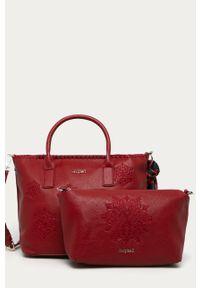 Czerwona shopperka Desigual na ramię