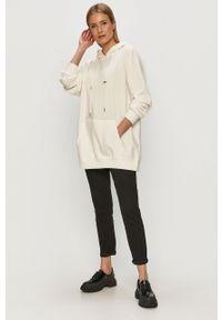 Biała bluza TALLY WEIJL gładkie, z długim rękawem, długa, z kapturem