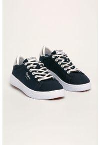 Niebieskie buty sportowe Pepe Jeans na sznurówki, z okrągłym noskiem, z cholewką