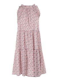 Born2be - Różowa Sukienka Adrilise. Kolor: różowy. Materiał: bawełna. Długość rękawa: bez rękawów. Wzór: aplikacja. Styl: wakacyjny. Długość: mini