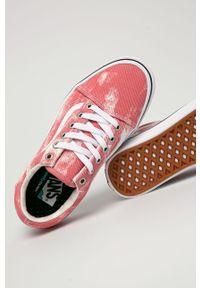 Różowe tenisówki Vans na sznurówki, z cholewką