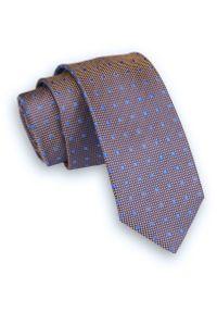 Alties - Pomarańczowo-Niebieski Klasyczny Męski Krawat -ALTIES- 6cm, w Drobne Kwadraciki. Kolor: niebieski. Materiał: tkanina. Wzór: geometria. Styl: klasyczny