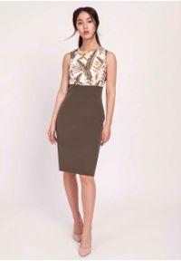 Lanti - Khaki Klasyczna Ołówkowa Sukienka z Łączonych Materiałów. Kolor: brązowy. Materiał: materiał. Typ sukienki: ołówkowe. Styl: klasyczny