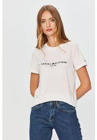 Biała bluzka TOMMY HILFIGER z aplikacjami, casualowa