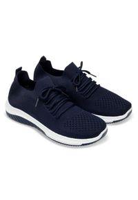 Niebieskie buty sportowe N/M trekkingowe, bez zapięcia