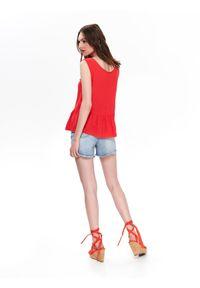 TOP SECRET - Bluzka z koronką. Kolor: czerwony. Materiał: koronka. Długość rękawa: krótki rękaw. Długość: krótkie. Wzór: koronka. Sezon: lato, wiosna