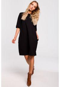 e-margeritka - Sukienka bombka dresowa czarna - m. Okazja: na co dzień. Kolor: czarny. Materiał: dresówka. Typ sukienki: bombki. Styl: casual