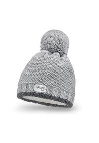 Zimowa czapka dziewczęca PaMaMi - Jasnoszary. Kolor: szary. Materiał: akryl, poliamid. Sezon: zima