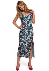 MOE - Długa Sukienka w Kwiaty na Ramiączkach - Model 3. Materiał: poliester. Długość rękawa: na ramiączkach. Wzór: kwiaty. Długość: maxi