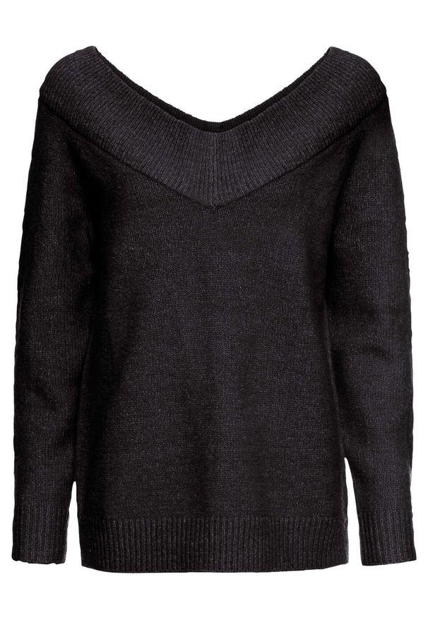 Czarny sweter bonprix z dekoltem w serek